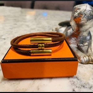 Hermes Tourni Leather Bangle Bracelet